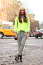 yellow neon knit Jcrew sweater