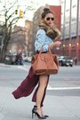 Olivia-palermo-meli-melo-bag-aviator-ray-ban-sunglasses-burgundy-zara-skirt