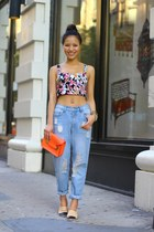 crop top floral Urban Outfitters top - boyfriend jeans rag & bone jeans