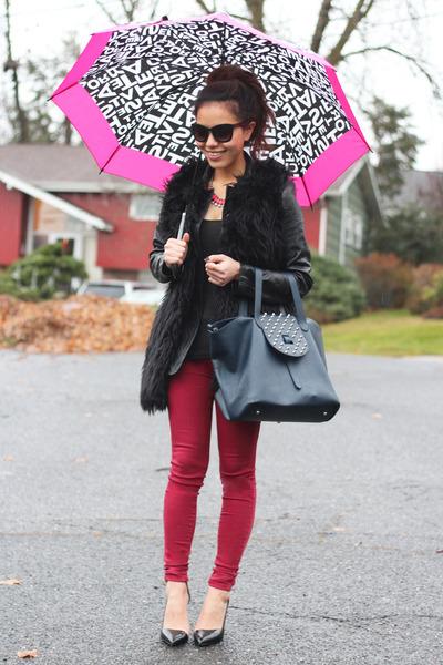 blue meli melo bag - hot pink neon pink H&M necklace