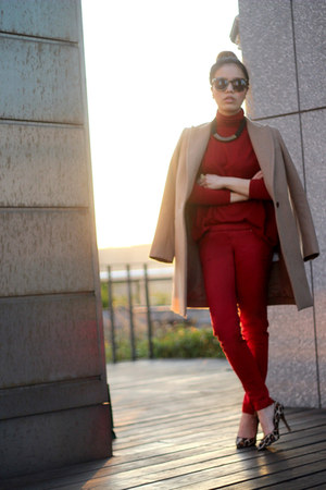 red turtleneck red Zara sweater - red red Club Monaco pants
