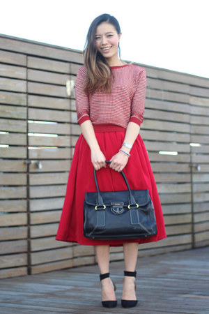 red plaid Zara sweater - black black tote Prada bag - red midi asos skirt