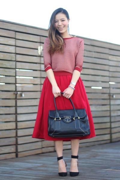 red plaid Zara sweater - black black tote Prada bag - red midi asos skirt