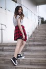 Red-plaid-shirt-urban-outfitters-shirt-black-quilted-finders-keepers-skirt