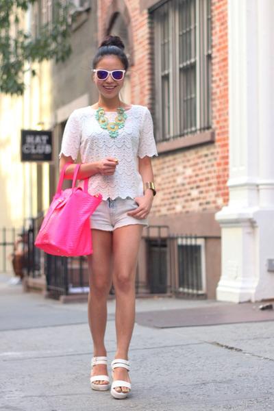 snake skin pink meli melo bag - joes shorts - mirrored white rayban sunglasses