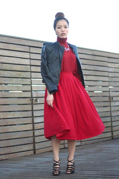 red midi red winter asos skirt - red turtleneck red Zara sweater