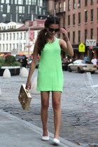 neon green Zara dress - TOMS flats - H&M necklace