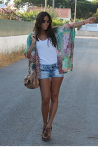 Zara vest - BLANCO bag - Bershka shorts - Boohoo wedges