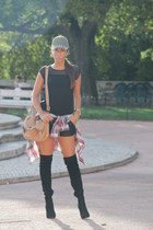Zara shirt - Bershka boots - H&M hat - suiteblanco bag - Zara shorts
