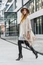 Ivory-mango-dress-camel-zara-hat-black-buffalo-heels-black-h-m-pants