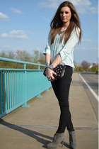 aquamarine Primark blouse - gray Zara boots - black H&M bag - black H&M pants