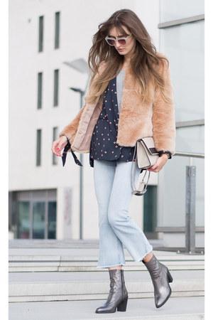 light blue H&M jeans - silver Buffalo boots - light pink Bershka jacket