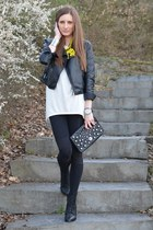 yellow Zara necklace - black SOliver jacket - black H&M leggings