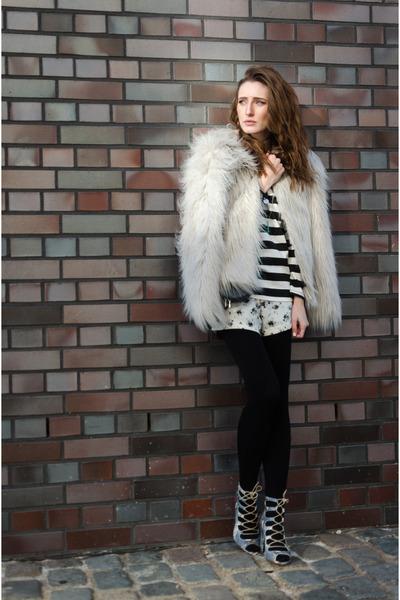 black Zara shirt - heather gray Vila jacket - black asos tights