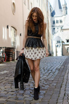 black Zara top - black H&M boots - black H&M jacket - black Mango belt