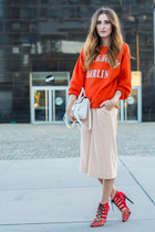 carrot orange H&M sweater - white Forever 21 bag - neutral weekday pants