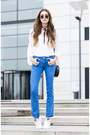 Blue-replay-jeans-gold-ray-ban-sunglasses-white-mango-blouse