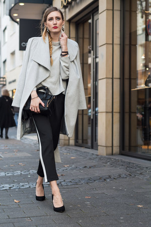 black H&M pants - heather gray Mango coat - silver Mango sweater