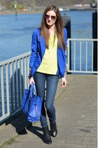 blue H&M blazer - navy Zara jeans - blue Primark bag - yellow Primark t-shirt