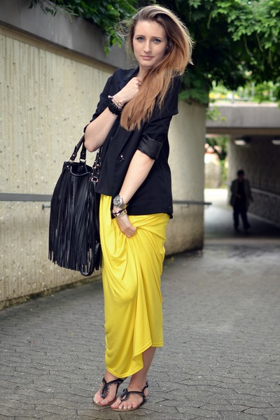 yellow Orsay skirt - black H&M blazer - black H&M bag - black H&M top
