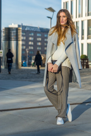 white Zara sneakers - silver Mango coat - off white Zara sweater