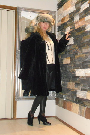 silver shapka russian hat - black Zara boots