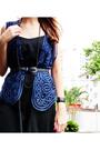 Black-second-hand-dress-blue-vest-black-handmade-necklace-black-shoes