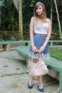 Blue-skirt-beige-top-blue-shoes-brown-belt-beige-bag-beige-accessories