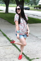 red Blowfish Shoes wedges - cream Forever 21 shirt - camel coach purse
