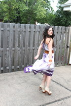 eggshell Shoedazzle heels - deep purple free people dress - brown Express belt