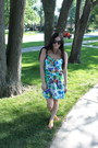 Turquoise-blue-target-dress-silver-borrowed-necklace-yellow-urbanog-sandals
