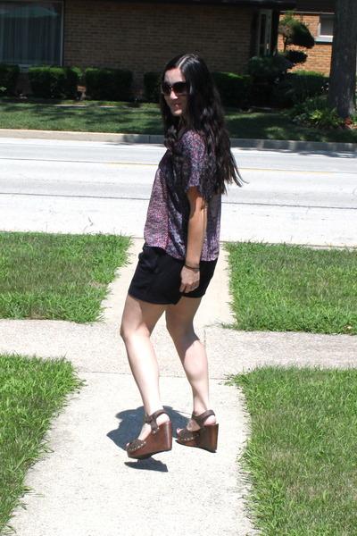 brown Forever 21 wedges - purple Target shirt - navy UrbanOG shorts
