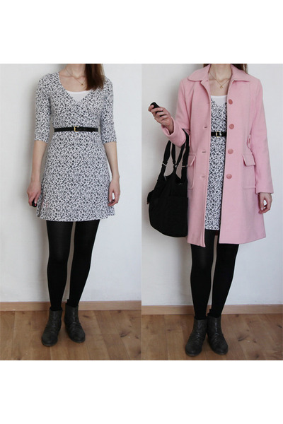 light pink Victorias Secret coat - black Kipling bag