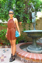 carrot orange H&M dress - turquoise blue unknown brand bag - black Aldo wedges