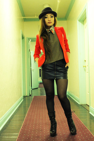 red double breasted Vintage thrift blazer - black opaque leggings H&M tights - b