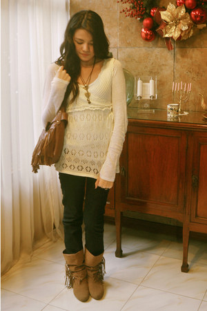 light brown boots - white blouse
