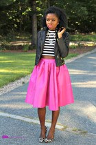 pink midi skirt Sheinside skirt - statement Stella & Dot necklace