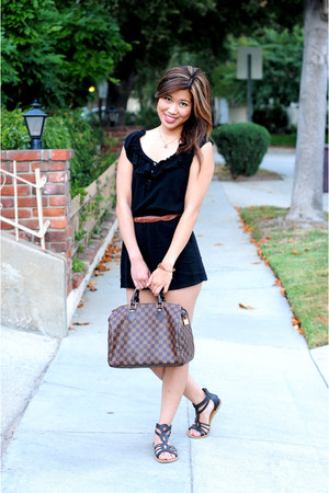 dark brown Forever 21 sandals - dark brown speedy 35 Louis Vuitton bag