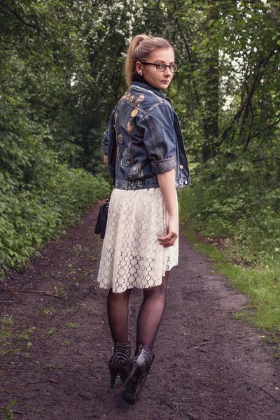 navy jeans vintage jacket - black leather Ebay boots - white lace H&M dress