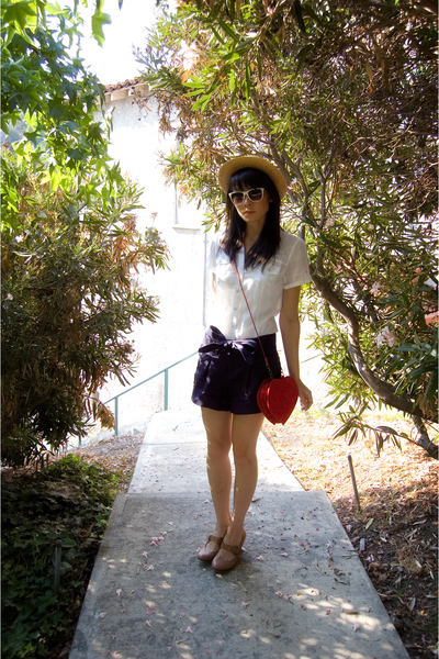 modcloth shoes - forever 21 shorts - forever 21 shirt - asos purse - Etsy hat