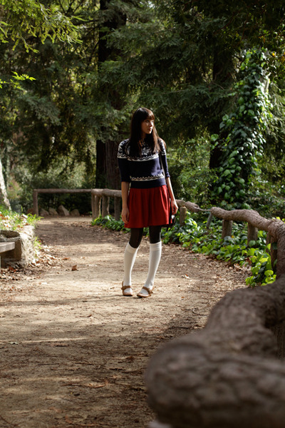 blue sweater - red skirt - brown shoes