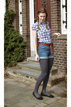 blue H&M shorts - blue H&M blouse - gray Hema tights - brown belt