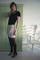 pink H&M skirt - black H&M dress - gray warehouse shoes