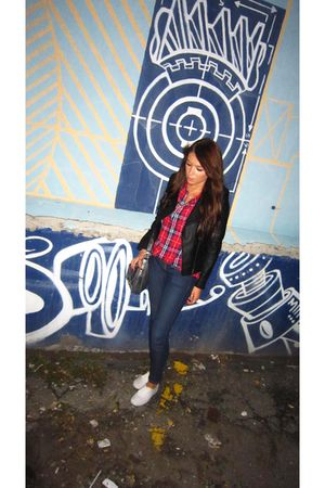 white Keds shoes - J Brand jeans - red TNA shirt - black Forever 21 jacket - gra