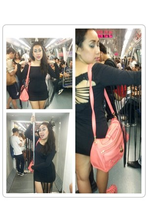 black H & M dress - coral new look bag - salmon H & M wedges