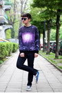 Deep-purple-sheinside-sweatshirt-turquoise-blue-vans-sneakers