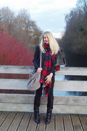 ruby red Zara scarf - black Sacha boots - heather gray Alexander Wang bag