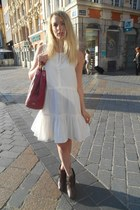 crimson sam edelman boots - cream Mango dress - ruby red coach bag