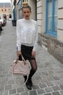 Light-pink-chloe-bag-black-stradivarius-skirt-white-zara-blouse