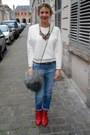 Black-zara-coat-heather-gray-pull-bear-jumper-ruby-red-zara-necklace